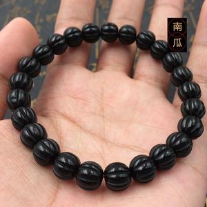 印尼黑金椰蒂南瓜珠手串單圈素珠椰殼項鏈金剛菩提雕刻六字真言