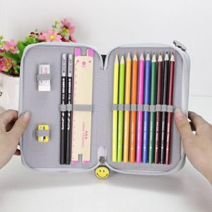 双层铅笔盒多层功能多层蓝色<span class=H>笔袋</span>美术女生素描文具包学生分类幼儿