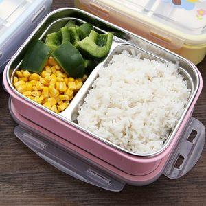 304不锈钢保温<span class=H>饭盒</span>分格小学生长方形便当盒微波炉儿童可爱餐盒1层