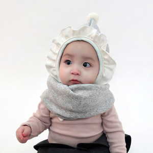 韩国进口正品j婴儿围脖宝宝男女童秋冬新款保暖围巾脖套加绒纯色