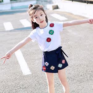 男童夏装套装2019新款韩版三朵花童装童短袖两件套潮