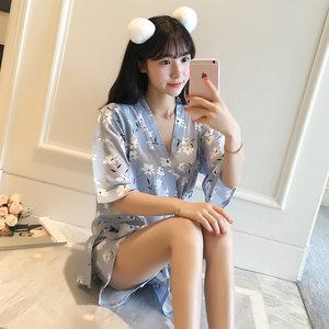 夏季睡衣三朵花日系?#22836;?#30701;袖短裤睡衣女夏韩版套装家居服配送眼罩