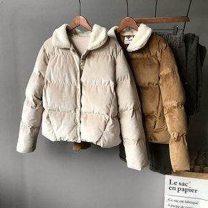 冬新款羊羔毛长袖<span class=H>短款</span>棉服女韩版纯色金丝绒<span class=H>翻领</span>保暖棉衣