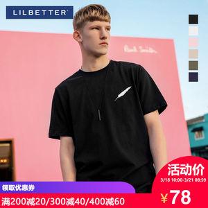 Lilbetter男士短袖T恤 纯棉刺绣体恤<span class=H>男装</span>修身上衣夏季半袖潮牌男T