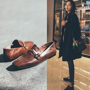 <span class=H>鞋子</span>女2019新款春季<span class=H>女鞋</span>英伦风复古ins网红方头平底小皮鞋女单鞋