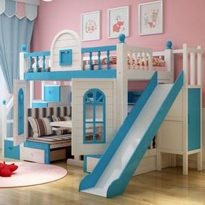 子母床 成人儿童床上下床铺<span class=H>滑梯</span><span class=H>双层床</span> 全实木<span class=H>高低床</span>带书桌城堡床