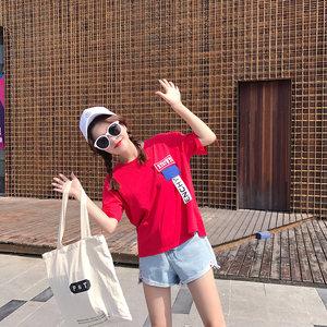 短袖<span class=H>t恤</span>女学生宽松2019夏季新款韩版白色字母织带上衣打底衫潮
