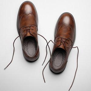 布洛克<span class=H>皮鞋</span>男牛津布洛克雕花韩版商务休闲鞋真皮棕色英伦小<span class=H>皮鞋</span>潮
