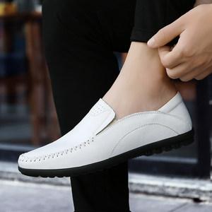 豆豆鞋男百搭休闲皮鞋<span class=H>小白鞋</span>韩版潮流白色男鞋真皮懒人鞋子男春季