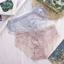 Sexy thin silk Skating Girl Sweet transparent lace mesh yarn perspective waist triangle ladies underwear cotton crotch
