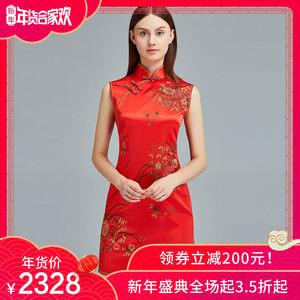 刺绣真丝手工量身定制红色中式结婚礼服裙敬酒服女短款<span class=H>旗袍</span>连衣裙