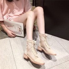 Shoe boots and sandals Summer breathable women's 2019 mesh boots with hollow ribbon and net red middle heel lace women's boots British wind boots