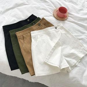 不规则半身裙裤女2018夏韩版时尚假两件休闲百搭高腰阔腿短裤热裤