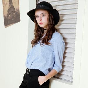 唐狮蓝白条纹衬衫女长袖2018秋装新款休闲宽松时尚上衣漂亮MM衬衣