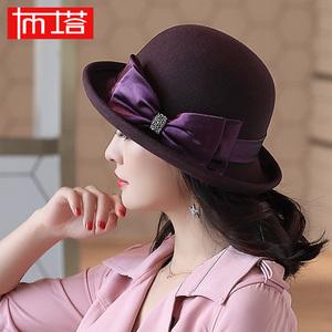 布塔秋冬季<span class=H>帽子</span>女复古英伦礼帽卷边优雅蝴蝶结羊毛呢帽渔夫帽盆帽