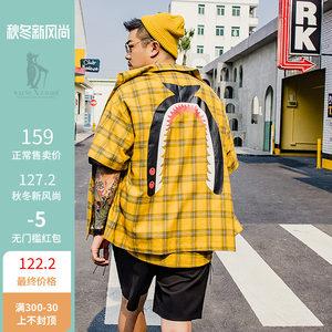 韦恩泽维尔加肥加大男装夏季潮休闲个性青年男士格子短袖<span class=H>衬衫</span>5800