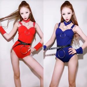 ds<span class=H>演出服</span>新款女歌手服dj服蓝色钢圈吊带连体夜店酒吧派对性感服装
