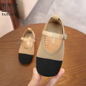 女童<span class=H>单鞋</span>韩版针织公主鞋软底拼色女宝宝皮鞋1-3-5岁小中童礼服鞋