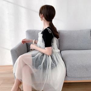 萝卜家 网纱打褶仙女吊带裙夏季新款网红高腰气质<span class=H>连衣裙子</span>两件套