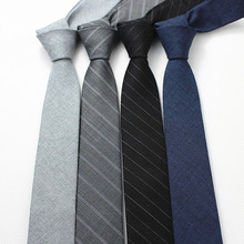 Men's Korean Narrow Tie 6cm Wool Suit Business Fashion Leisure Marriage Gray Blue Gift Box