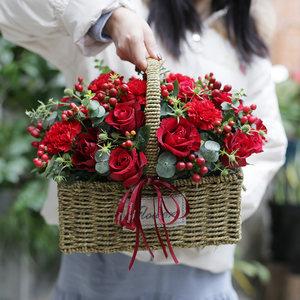 红玫瑰礼盒青岛生日<span class=H>鲜花</span>速递同城上海杭州宁波哈尔滨花店圣诞送花