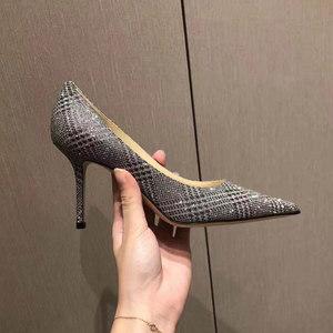 新款浅口秋冬季银黑条纹亮片伴娘鞋婚鞋真皮尖头细跟女<span class=H>单鞋</span>高跟鞋