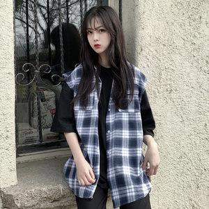 春夏新款韩版复古工装无袖格子衬衫马甲外套男女上衣百搭<span class=H>马夹</span>学生