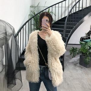 海宁女装2018新款仿滩羊毛羊羔毛皮草<span class=H>外套</span>女中长款冬羊卷毛大衣
