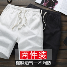 Casual cotton and linen shorts men's fashion loose quintuple pants pure cotton sport home linen quintuple pants