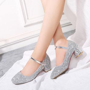 童鞋女童<span class=H>皮鞋</span>小女孩单鞋子银色高跟礼服走秀儿童表演出公主水晶鞋