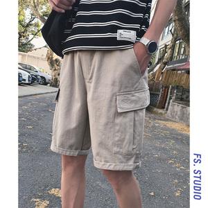 @方少<span class=H>男装</span> 夏季港风纯色休闲工装短裤男青年韩版百搭潮流五分裤子