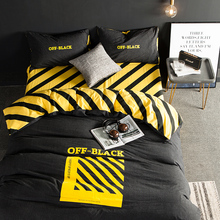 Black Tide Men's Bedding Set Two-person Four-piece Set of Simple Water-washed Cotton Bed Linen Bed Ham 1.8m Bed Material