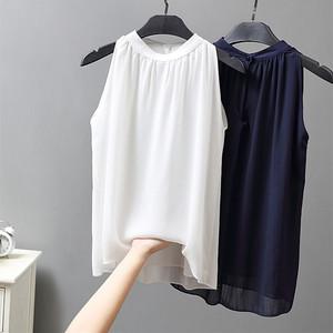无袖挂脖雪纺<span class=H>衬衫</span>女2019夏季新款很仙的露肩上衣ol淑女风双层不透