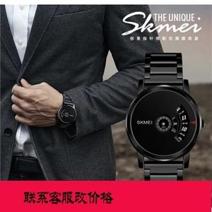 时刻美正品休闲石英钢表创意纯黑防水时来运转<span class=H>手表</span>男无指针概念表
