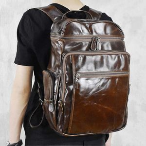 新款手工头层牛皮双肩包男大容量旅行背包英伦复古真皮商务电脑包