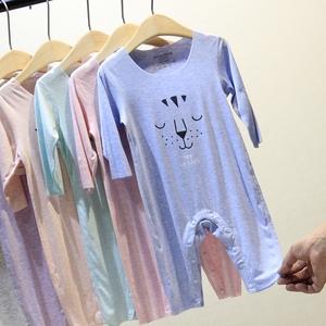 超薄款嬰兒連體衣長袖夏季寶寶空調服莫代爾爬爬服睡衣哈衣新生兒