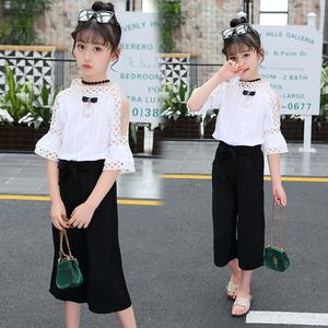 【两件套超值】新款时尚洋气女童短袖阔腿裤