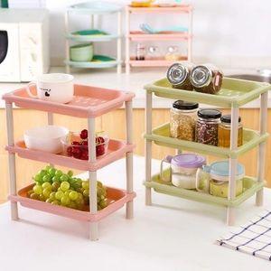 多功能迷你厨房<span class=H>置物架</span>浴室收纳架塑料置物层架桌面角落三层整理架