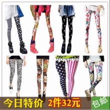 Flower pants children color graffiti personality underpants plus velvet tide Yoga Pants pattern tightly elastic printed thermal pants