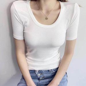 2019春夏新款低领<span class=H>打底衫</span>女大U领修身显瘦性感短袖内搭紧身T恤上衣