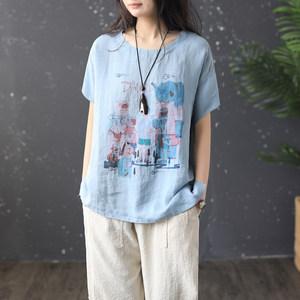 原创文艺范棉麻<span class=H>T恤</span>女卡通大象印花圆领衫夏季新款显瘦短袖上衣19