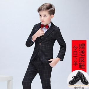 男童礼服套装儿童小<span class=H>西服</span>黑色格子西装马甲<span class=H>演出服</span>花童小伴郎婚礼服
