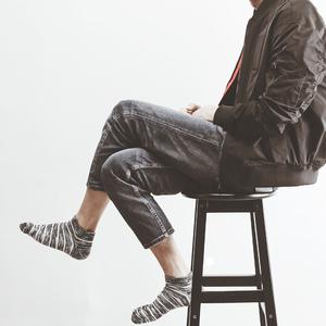 米吉诺拉混线撞色男士简约船<span class=H>袜子</span>春夏季日系吸汗排汗运动潮流短袜