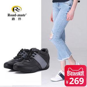 路伴冬季欧美圆头系带头层牛皮<span class=H>女鞋</span> 内增高休闲低帮鞋单鞋1WD0004