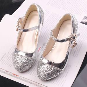 童鞋女童<span class=H>皮鞋</span>韩版高跟公主鞋冰雪奇缘银色儿童舞蹈鞋艾莎鞋夏季