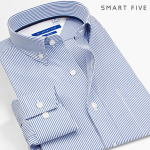 SmartFive <span class=H>青少年</span>上班衬衫男长袖修身韩版细<span class=H>条纹</span>商务休闲<span class=H>衬衣</span>四季