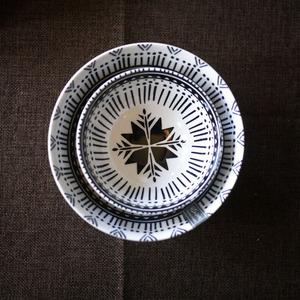W1962出口美国陶瓷立体纹理釉下彩黑白几何花型餐碗/饭碗/餐具