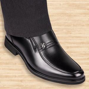 冬季加棉保暖男式皮鞋真皮中年人男装内真高爸爸<span class=H>单鞋</span>高跟商务休闲