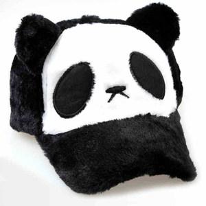 熊猫棒球帽韩版毛绒棒球帽亲子帽可爱帽子女秋冬<span class=H>鸭舌帽</span>眼睛帽