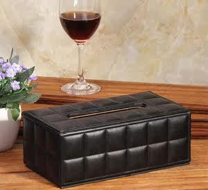 满山艺术简约现代时尚欧式羊皮纹皮革<span class=H>纸巾盒</span>抽纸盒 黑色白色